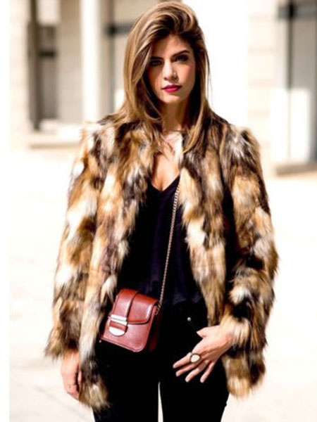 Image of Multicolor Faux Fur Coat Women Brown Color Block Long Sleeve Winter Coat