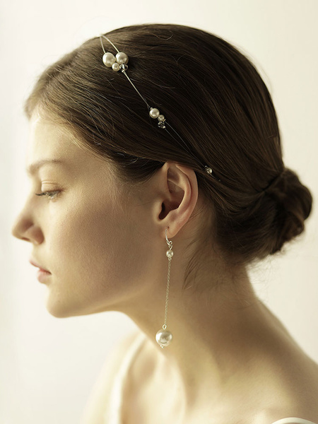 Wedding Earrings Set Pearls Headpieces White Headband Bridal Jewelry Set