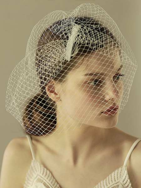 Birdcage Wedding Veil White Short Net One Tier Cut Edge Bridal Blusher Veils