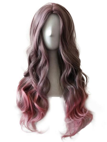 Halloween Hair Wigs Carnival Hair Wigs Women Long Centre Parting Body Wave Curls Tousled Fuchsia Women Wigs