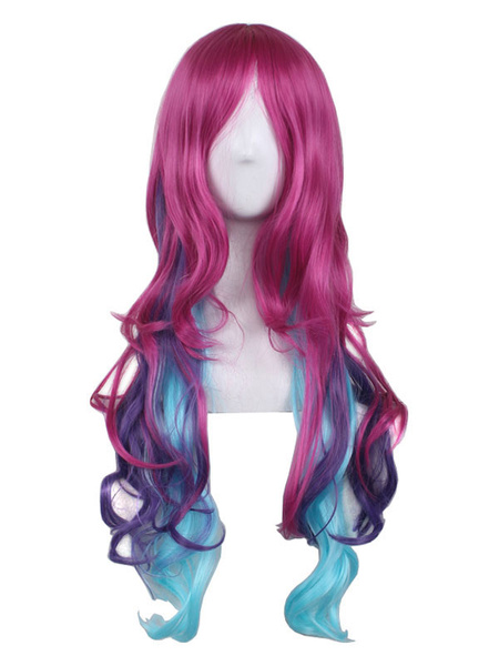 Halloween Hair Wigs Women Carnival Wigs Highlighting Central Parting Full Volume Curls Tousled Rose Red Holiday Wigs