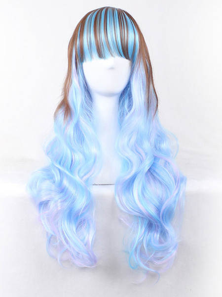 Halloween Hair Wigs Highlighting Carnival Wigs Blue Tousled Full Volume Wave Long Synthetic Wigs With Blunt Bangs