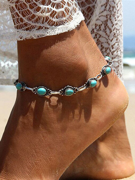 Boho Blue Anklets Embossed Gems Jeweled Women's Beach Ankle Chains