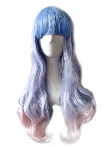 Halloween Hair Wigs Blue Carnival Wig Highlighting Ombre Tousled Body Wave Curls Long Synthetic Wigs With Blunt Bangs