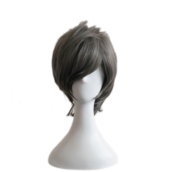 Halloween Hair Wigs Carnival Grey Wigs Short Pixies And Boycuts Tousled Microfiber Women Granny Hair Wigs