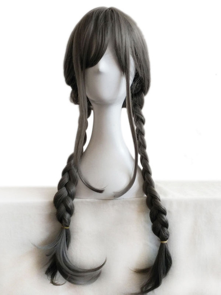 Halloween Hair Wigs Carnival Grey Wigs Long Layered Synthetic Wigs With Bangs For Women