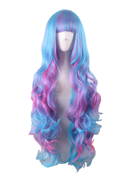 Halloween Hair Wigs Carnival Synthetic Wigs Women Blue Ombre Long Curly Hair Wigs With Blunt Bangs