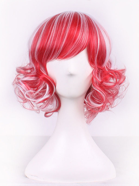 Halloween Hair Wigs Carnival Synthetic Wigs Women Red Short Curls At Ends Hair Wigs With Bangs