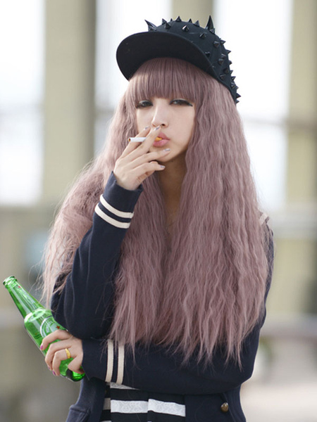 Halloween Hair Wigs Women Carnival Wigs Crimp Curls Cameo Pink Tousled Long Wigs With Blunt Bangs