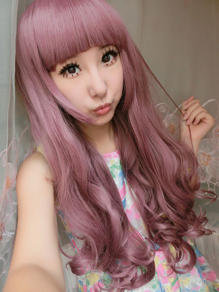 Halloween Hair Wigs Carnival Hair Wigs Cameo Pink Full Volume Curls Tousled Long Synthetic Wig With Blunt Fringes