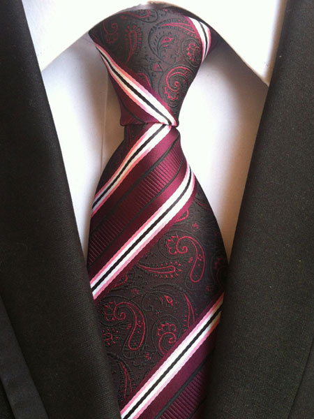 Dark Red Ties Silk Striped Jacquard Men's Neck Tie