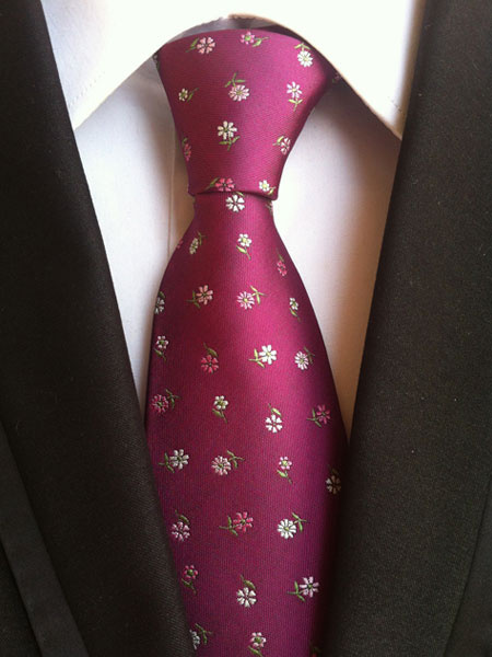 Fuchsia Men's Ties Jacquard Polyester Neck Tie