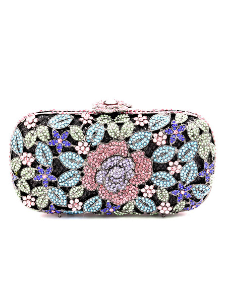 Purple Wedding Purse Rhinestones Beaded Bridal Clutch Bags Party Evening Handbags (usa40994502) photo