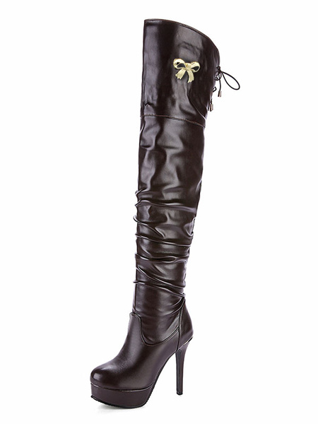 Women Winter Boots PU Upper Lace Up Bow Ruched Stiletto Platform High Heel Black Thigh High Boot