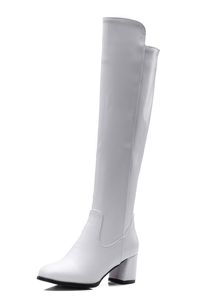 Women Knee Length Boot PU Upper Zipper Chunky Heel Casual Boot Women White