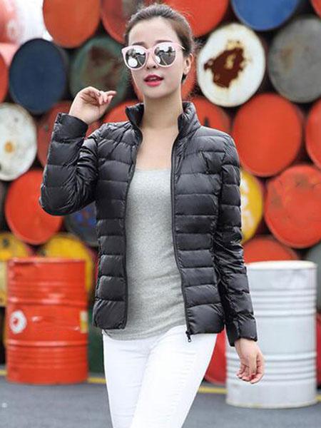Image of Black Down Jacket Long Sleeve High Collar Women Winter Puffer Jacket