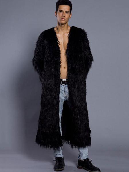 Milanoo / White Overcoat Men Faux Fur Coat V Neck Long Sleeve Long Winter Coat