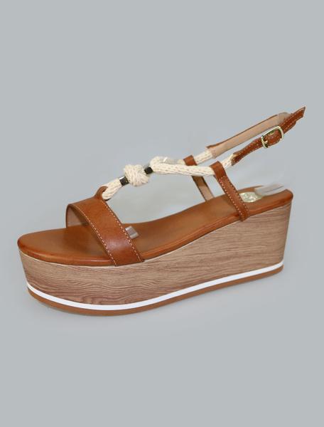 Image of Women Summer Sandals Strappy Color Block Flatform Women Lace Up Wedge Sandal