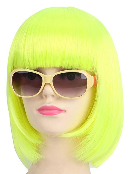 Carnival Hair Wigs Halloween Wig Bob Blunt Bang Inner Curl Neon Green Holiday Wig