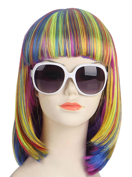 Carnival Bob Wig Rainbow Color Highlight Blunt Bang Short Holiday Wig