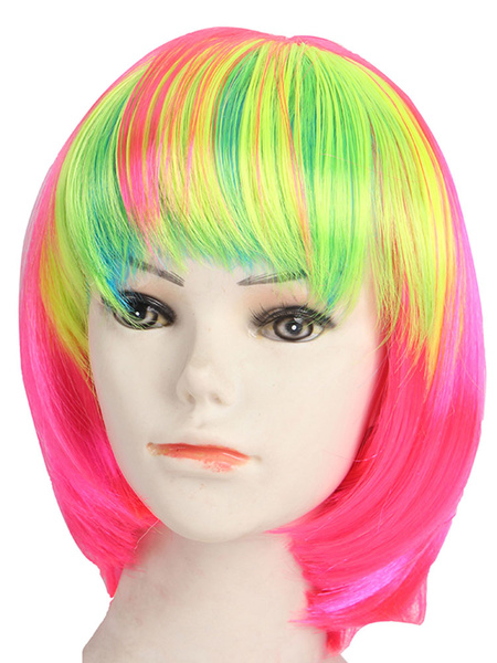 Canival Short Wig Highlight Blunt Bang Rose Red Holiday Women Bob Wig