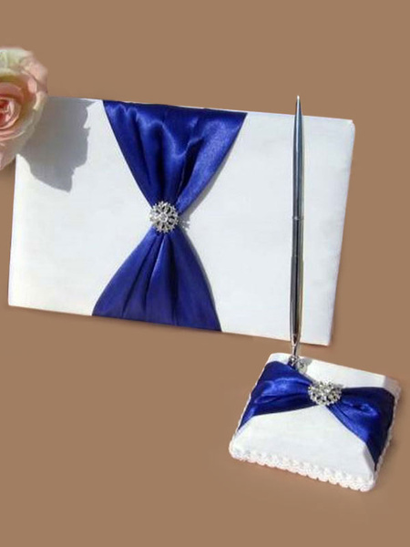 Wedding Guest Book And Pen Stand Set Rhinestones Ribbon Bow Wedding Desk Decorations