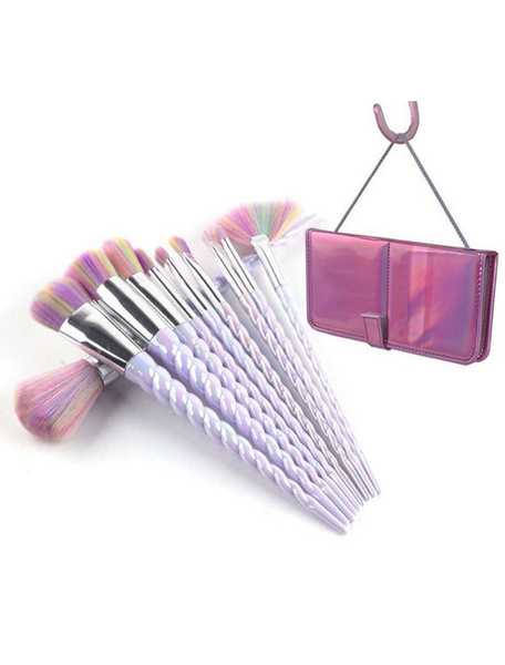 Professional Makeup Brush Unicorn Design Rainbow Color Synthetic Fiber 10 Piece Portable Brush Set
