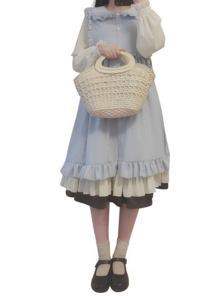 Attrezzatura Lolita Stile di Rococò Acqua cotone maniche lunghe abito senza maniche abito