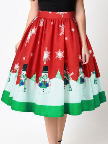 Red Christmas Skirt Snowman Printed Pleated A Line Skirts For Women