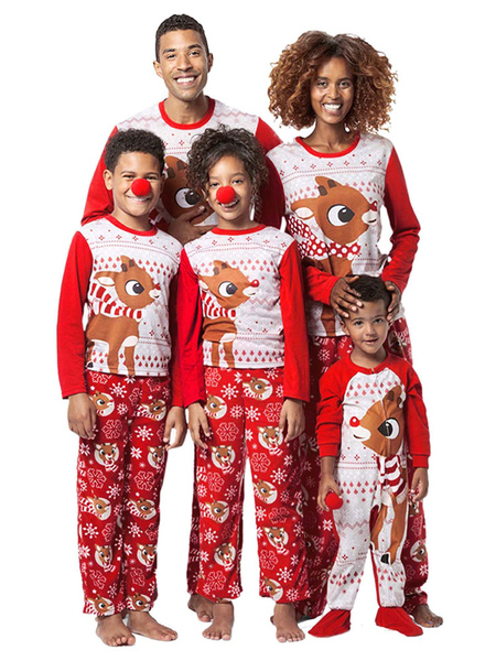 Baby's Family Matching Christmas Pajamas Red Printed Jumpsuit Baby Onesie
