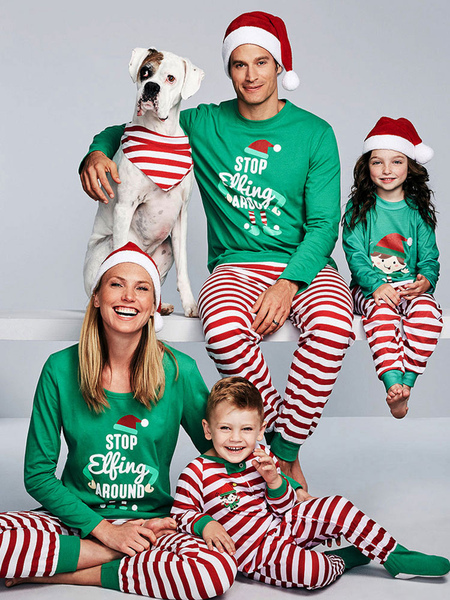 Children's Family Christmas Pajamas Kids Green Pants With Top Unisex Morning Pjs