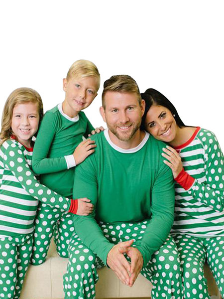 Girl's Family Matching Christmas Pajamas For Daughter Green Striped 2 Piece Pjs