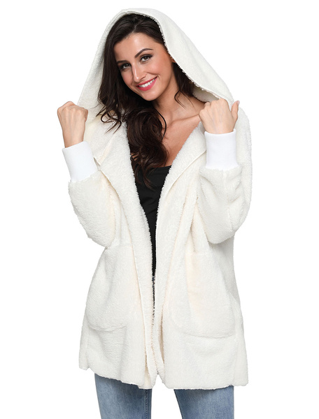 Image of Faux Fur Coat Women Coat White Hooded Long Sleeve Shearling Coat