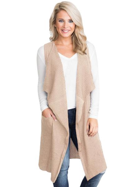 Image of Long Cardigan Sweater Sleeveless Pocket Irregular Women Black Cardigan