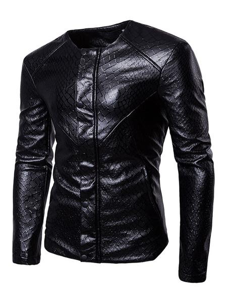 Image of Men Leather Jacket Black Short Jacket Round Neck Long Sleeve Printed Spring Jacket