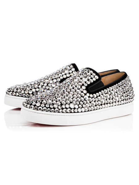 Black Loafer Shoes Flat Round Toe Rhinestones Terry Slip On Loafers For Men