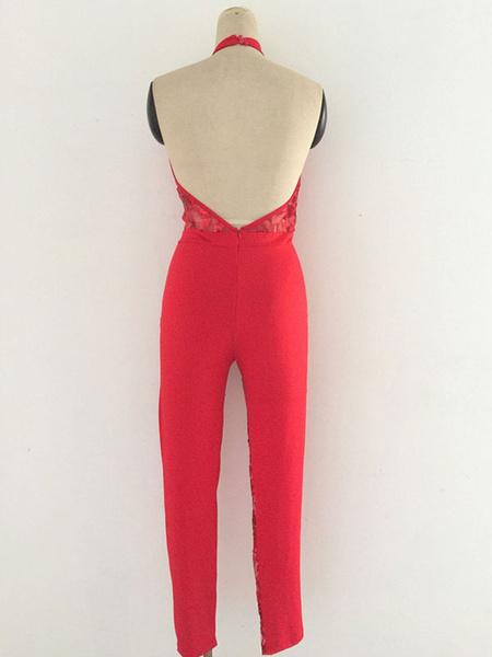 Milanoo / Black Long Jumpsuit Sequin Halter Sleeveless Cut Out Skinny Leg Clubwear For Women
