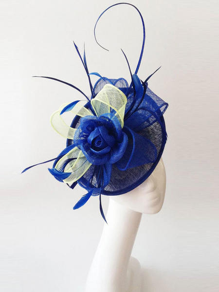 Wedding Fascinator Hats Feathers Tulle Royal Blue Bridal Headpieces