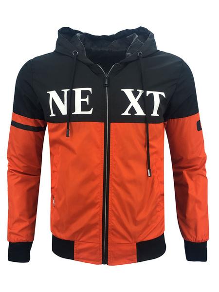 Image of Men Short Jacket Orange Windbreaker Jacket Hooded Long Sleeve Printed Spring Jacket