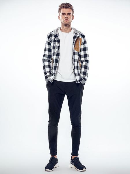 Image of Red Spring Jacket Men Jacket Hooded Long Sleeve Plaid Short Jacket