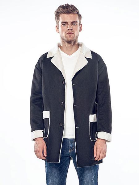 Image of Black Shearling Coat Suede Turndown Collar Long Sleeve Winter Coat Men Relaxed Fit Coat