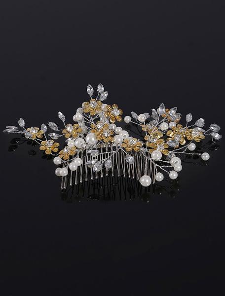 Beach Wedding Headband Gold Pearls Rhinestone Flower Shape Wedding Headpieces фото