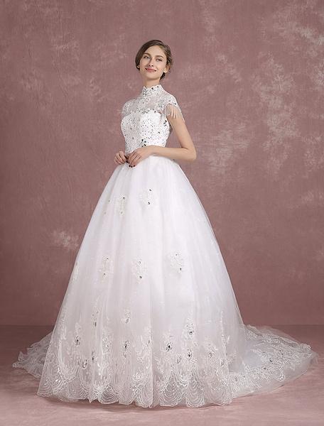 Cathedral Train Wedding Dress Lace Applique Illusion High Collar Short Sleeve Bridal Gown Rhinestone фото