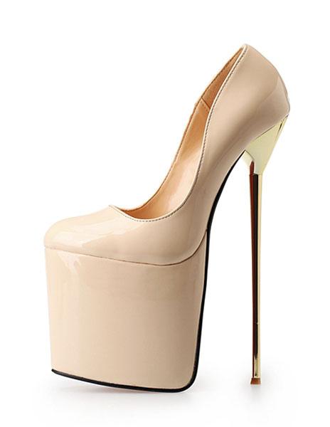 Round Toe Platform PU Upper Women's Fashion Sky High Heels фото
