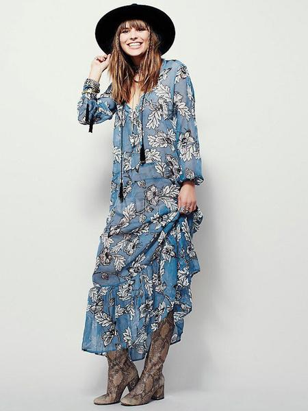 Boho Maxi Dress Chiffon Light Blue Plunging Neckline Long Sleeve Floral Printed Pleated Long Dress фото