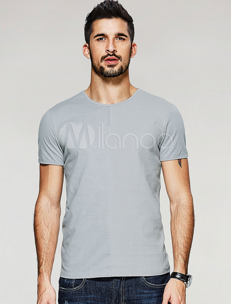 Men's Cotton T Shirt Round Neck Short Sleeve Shaping Base Top фото