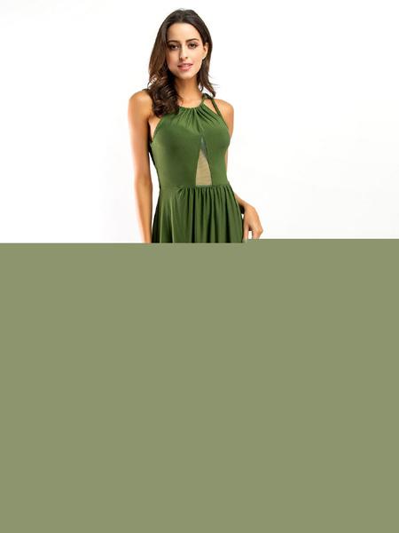 Milanoo / Backless vestido Maxi correas vestido de noche elegante alta Split