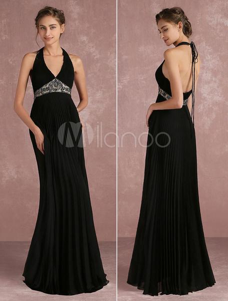 Wunderschönes Abendkleid aus mit Halter und Falten und Perlen-Applikation bodenlang in Schwarz