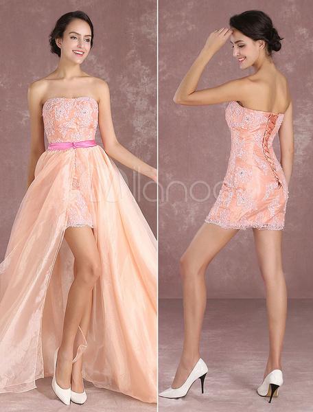 Blush Pink Prom Dress Sheath Lace Applique Strapless Long Party Dress Beading Organza Detachable Tra фото