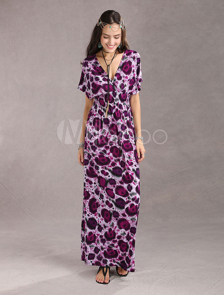Elegent Purple Floral Ice Silk Womens Maxi Dress